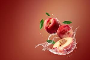 Pictures Peaches Water splash Nectarine