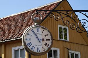 Image Retro Clock Clock face Houses Old