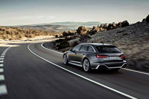 Pictures Roads Audi Back view Motion Station wagon 2020 2019 V8 Twin-Turbo RS6 Avant Cars