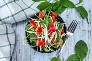 Fotos Salat Gemüse Gabel Blatt Schüssel