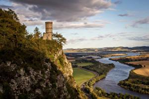 Hintergrundbilder Schottland Flusse Acker Felsen Türme Kinnoull Hill Tower Perth