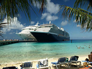 Desktop wallpapers Ship Cruise liner Resorts Sunlounger Beaches 2 Grand Turk Island
