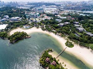 Hintergrundbilder Singapur Gebäude Küste Von oben Palawan Beach