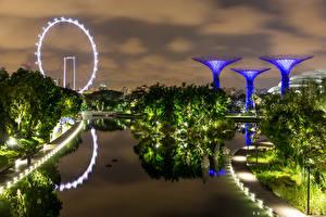 Bilder Singapur Park Abend Design Bucht Bäume Gardens by the Bay Natur