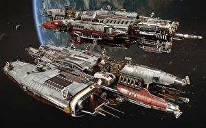 Desktop wallpapers Starship 2 TDS Athena - Fractured Space Space