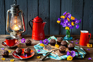Images Still-life Paraffin lamp Kettle Coffee Little cakes Bouquet Boards Wall Pitcher Cup Petals Food