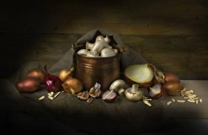Desktop hintergrundbilder Stillleben Kartoffel Zwiebel Knoblauch Pilze Zucht-Champignon Lebensmittel