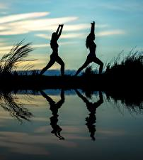 Image Sunrise and sunset Reflection Two Silhouette Yoga Physical exercise Sport