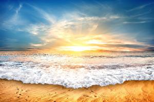 Pictures Sunrise and sunset Sea Waves Sky Nature