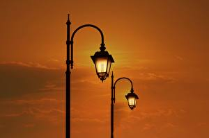Pictures Sunrises and sunsets Street lights Two