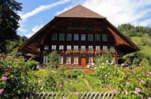 Images Switzerland Houses Rose Mansion Design Bush Emmental Cities