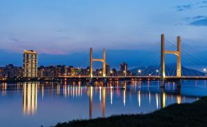 Fotos & Bilder Taiwan Haus Flusse Brücken Abend Städte
