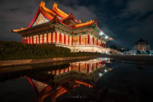 Image Taiwan Temple Pagodas Pond Night time Cities