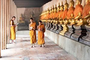 Hintergrundbilder Tempel Buddha Junge Glatze Mönch Kinder