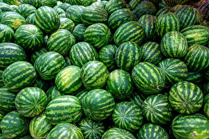 Pictures Texture Watermelons Many Food