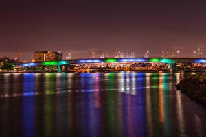 Picture USA Building Rivers Bridges California Night Queensway Bridge in Downtown Long Beach Cities