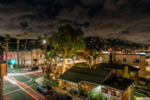Photo USA Building Roads Evening California Street lights Laguna Beach Cities