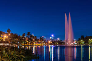 Wallpapers USA Park Lake Fountains California Los Angeles Palm trees Night Rays of light Echo Park Lake Nature Cities