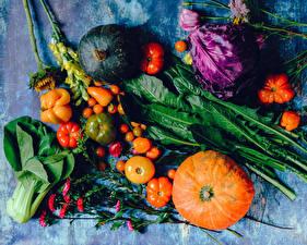 Hintergrundbilder Gemüse Kürbisse Tomaten Paprika Kohl das Essen