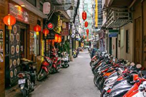 Bilder Vietnam Haus Viel Straße Saigon Motorrad