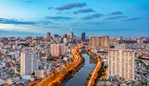 Fotos Vietnam Haus Flusse Straße Saigon Städte