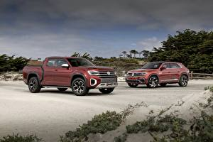 Hintergrundbilder Volkswagen Zwei Pick-up Atlas Tanoak Concept, Atlas Cross Sport