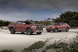 Bureaubladachtergronden Volkswagen Twee 2 Pick-up Atlas Tanoak Concept, Atlas Cross Sport auto's