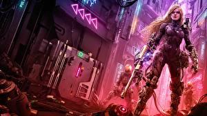 Picture Warriors Rifle Blonde girl Cyborgs Cyberpunk female Girls