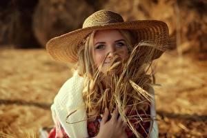 Bilder Weizen Der Hut Niedlich Ähre Starren Anastasia Slastnikova Mädchens