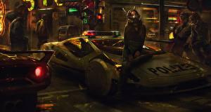Fotos & Bilder Polizei Sitzend cyberpunk Fantasy Mädchens Autos