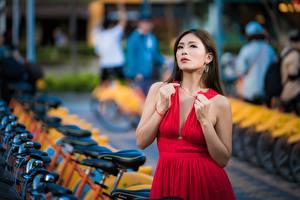 Bilder Asiaten Unscharfer Hintergrund Pose Kleid Dekolletee Rot Mädchens