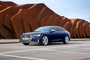 Sfondi desktop Audi Blu colori Berlina 2019 S6 Sedan TDI macchine
