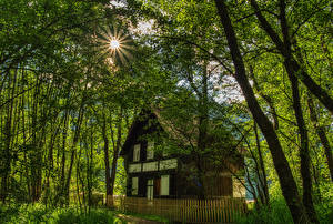 Pictures Austria Building Trees Rays of light Fence Carinthia Nature Cities
