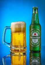 Pictures Beer Colored background Bottle Mug Foam Heineken Food