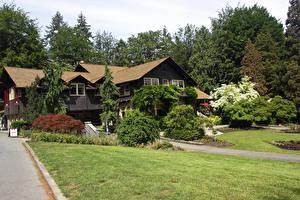 Bilder Kanada Parks Gebäude Vancouver Strauch Bäume Rasen Stanley Park