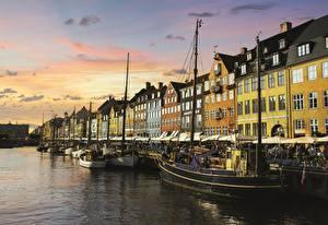 Wallpapers Copenhagen Denmark Marinas Building Evening Cities