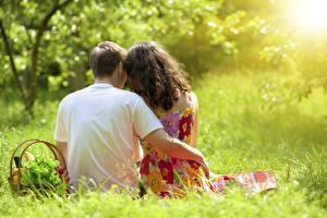 Hintergrundbilder Paare in der Liebe Mann Gras Weidenkorb Zwei Sitzend Umarmt Hinten Unscharfer Hintergrund junge frau
