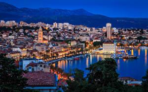 Photo Croatia City of Split Houses Marinas Evening Bay Cities
