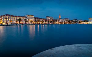 Pictures Croatia Building Berth Evening City of Split Bay Cities