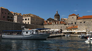 Pictures Croatia Building Pier Riverboat Dubrovnik Bay Wall