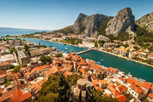 Pictures Croatia Mountain Houses Bridges Bay Omis Cities