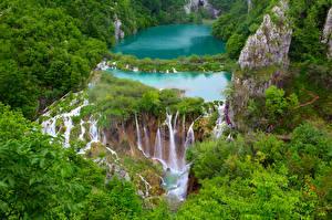 Hintergrundbilder Kroatien Wasserfall Park Felsen Plitvice lakes national Park Natur