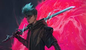Wallpapers Robot Swords Guy Cyberpunk