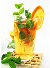 Hintergrundbilder Getränk Apfelsine Weißer hintergrund Trinkglas Minzen Lebensmittel
