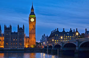 Fotos England Uhr Flusse Brücken London Big Ben Westminster bridge, Thames Städte