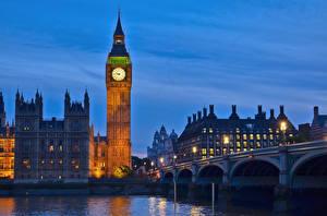 Sfondi desktop Inghilterra Orologio Fiumi Ponti Londra Big Ben Westminster bridge, Thames Città