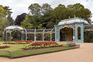 Fotos England Garten Rasen Zaun Waddesdon Manor gardens