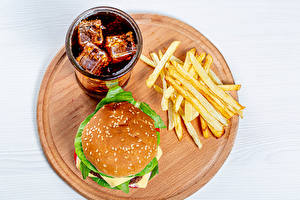 Image Fast food Finger chips Hamburger Drink Coca-Cola White background Cutting board Highball glass Food