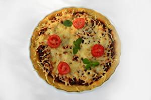 Fotos Fast food Pizza Tomate Weißer hintergrund das Essen