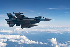 Image Airplane Fighter Airplane F-16 Fighting Falcon Sky American Side Clouds Flight Aviation